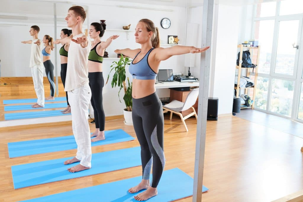 Concentrated correcting posture with yoga